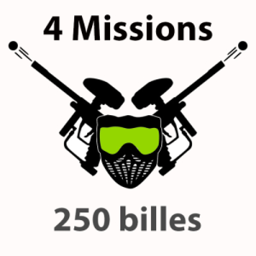 250 billes 7- 12 ans Paintball 4 missions