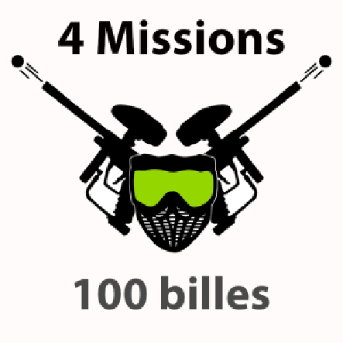 100 billes +13 ans Paintball 4 missions