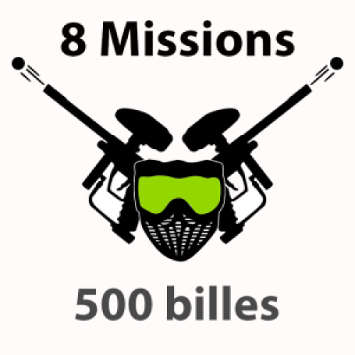 500 billes 7- 12 ans Paintball 8 missions